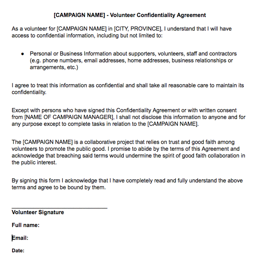 Volunteer Confidentiality Agreement Civic Campaign Resource By