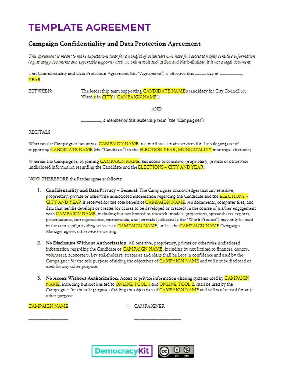 Confidentiality And Data Protection Agreement Template Civic